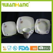 Porcelain spanish style dinnerware set, porcelain heat resistant white crockery