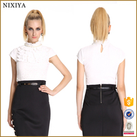 Ruffles Neck Stand Collar Lace Tops Women Wholesale Clothing