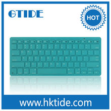 Blue color slim wireless bluetooth keyboard azerty layout for computer/tablet pc