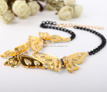 Fashionable necklaces jewelry for 2015 fashion butterfly shaped gold chain necklace acrylic statement necklace
