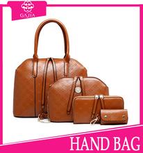 2015 hot sell European Style brown 4pc set lady bag leather purse and handbag,Fashion Latest Design italian women handbag