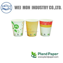 Environmental Friendly 7oz Green Bioware PLA Coated Paper Cup