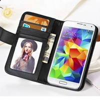 Photo frame card slot pu leather wallet case for samsung galaxy S5