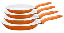 Magic Fry Pan Set with Insulated Bakelite Handle/4pcs Orange Ceramic Non-stick Frying Pan Set For Induction Cooking