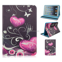 Heart Floral Butterfly Flip Stand TPU+PU Leather Tablet Cover Case For iPad mini 1/2/3 With Elastic Belt