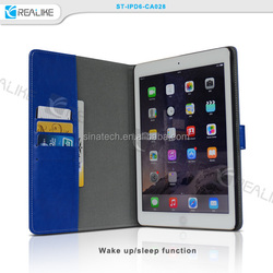wake up function and sleep card holders case for apple ipad air 2 with magnetic back wall
