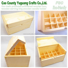 wooden essential oil box with 15 compartments,hinged lid oil box,unfinished wood gift boxes