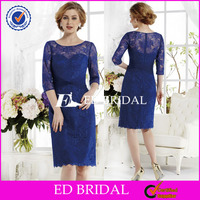 NS486 Elegant Lace Knee Length Long Sleeve Royal Blue Mother Of The Bride Dresses