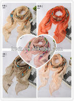 2013 Wholesale Price Fashion patchwork design scarf Knitted 100% scarf shawl polyester scarves wholesale,W3032