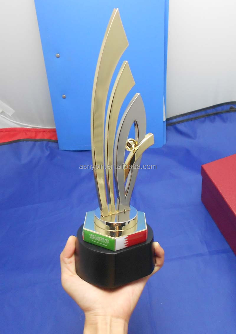 Uae Qatar Metal Award Souvenir Trophy With Wooden Base