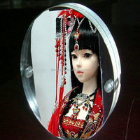 Clear Acrylic Magnetic Block Photo Frame, Double Sided Circle Clear Acrylic Block Picture Frame