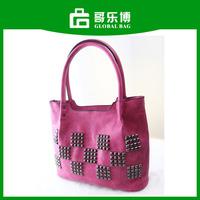 High Quality Nubuck Leather Fushia Fashion Lady Handbag