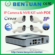 CCTV KIT--1pc 4ch POE NVR + 4pcs 720P Waterproof POE IP Cameras--security 4ch nvr kit