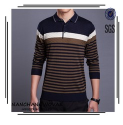 Brand Men Stripe Long Sleeve Polo-Shirt Color Combination Spring Tee