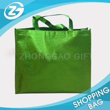 Shining Shimmering Gold Metallic Aluminum Foil Laminated Non Woven Tote Bags with Logo Printing