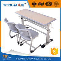 Tengya New Design Eco-friendly School Furniture Adult Double School Desk and Chair