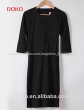 2014 nueva llegada junta- cuello mangas 3/4 larga vestidos de estilo