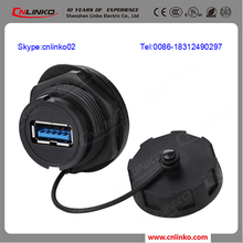 Easy to operate usb cable panel mount type a ip67 waterproof usb port conenctor female usb