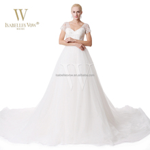Gorgeous wholesale A-line short sleeve V-neck church big wedding dresses for pregnant brides