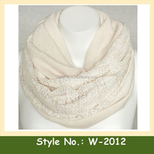 W-2012 fashion women loop infinity scarf lace knit pattern scarves