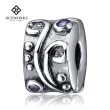 2015 fashion cz crystal charm unique crystal european beads sterling silver spacer charms Clip Charm Beads