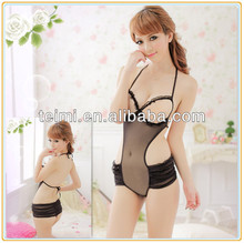 Black teddy sexy women expose chest expose back women underwear gauze teddy