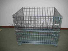 Folding stackable wire mesh storage