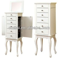 Mini Wooden Jewelry Dresser Chest Box with Drawers Mirror Jewelry Chest