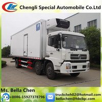 -16 degree Carrier Refrigeration Units,3 axles DONGFENG Fresh Meat Refrigeration Truck for sale