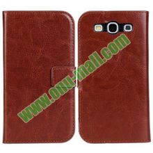 Crazy Horse Texture Leather Case wallet flip case cover for samsung galaxy s3 i9300 with Card Slots and Holder