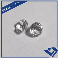perfect round shape machine cut white natural cubic zirconia gemstone