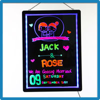 2015 New Arrival ZD Light Up Sign Acrylic 90 Flashing Modes Light Menu Board Aluminum Alloy Frame Pad Design