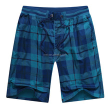 Heavy cotton baggy beach shorts checked mens casual shorts
