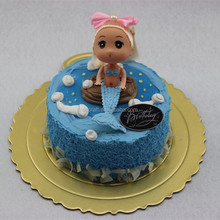 Artificial Birthday Cake Model with little mermaid for cake shop display