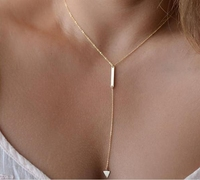 Korean Style Long Pendant Necklace Triangle Shape Gold Metal Simple Necklace For Women