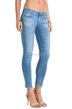 Sexy Skinny Fitting Women Cropped Washed Jeans With High Quality
