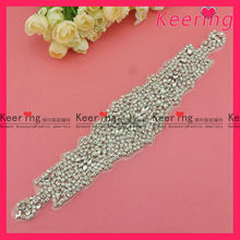 clear rhinestone wedding bridal dress applique sash belt WRA-390
