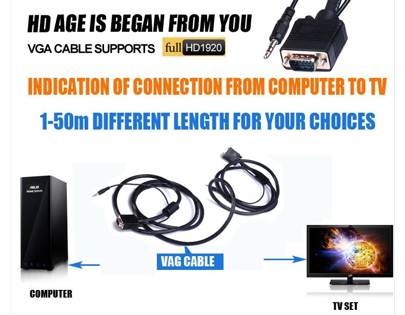 Factory direct sell ethernet vga rca , VGA15 Male monitor cable with 2 ferrites,best suit for ethernet vga rca distributor
