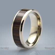 Wholesale Fashion New Products Wood Inlay Mens Titanium Ring
