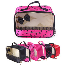 Cheap satin PVC material makeup ladies cosmetic bag for wholesale