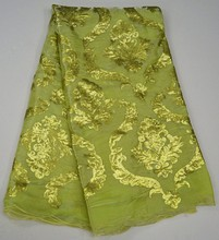 Water green colour Korea silk lace fabric top quality for big occasion