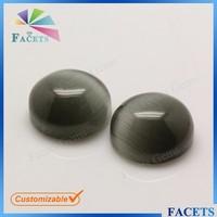 Beautiful Glass Gems Round Cabochon Cut Flat Back Black Cat's Eye Gems