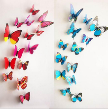 2015 New 12pcs Butterfly Home Decor 3d Wall Stickers Kitchen Pvc Diy for Kids Rooms Decorations Living Room Porta Retrato