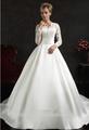 elegante de cuello alto manga larga de encaje vestido de fiesta vestido de novia de Arabia Saudita