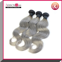 New Arrival 7A Grade Top Quality Virgin Hair Products 100% Brazilian Hair Body Wave Colored Two Tone 1B Grey Human Hair Weaving