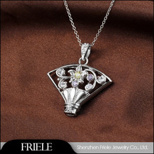 925 Sterling silver fashionable chinese fan shape pendant necklace