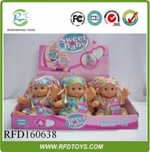9 Inch sitting doll with 6 sound set,new product lovely vinyl girl baby doll