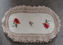 MZ fancy thread embroidered crocheted table cloth fabric home textile