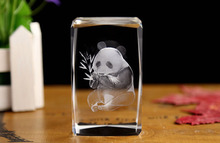 new glass 3d laser engraved panda crystal cube