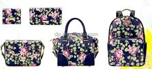 New manufacture wholesale women fashion calico flower lady handbags /pu women calico tote bag